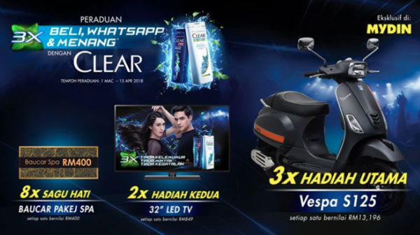 CLEAR Buy, WhatsApp and Win, Exclusive in MYDIN