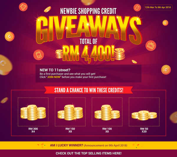 NEWBIE SHOPPING CREDIT GIVEAWAYS