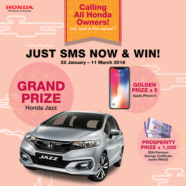 Win Honda Jazz and IphoneX!!!