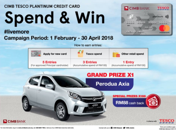CIMB Tesco Platinum Credit Card Spend & Win