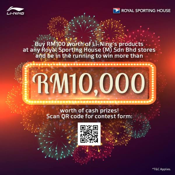 Royal Sporting House to win more than RM10000 worth of cash prices