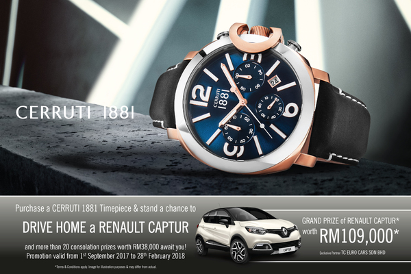 Cerruti 1881 Buy and Win a Renault car