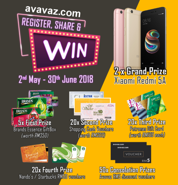 Avavaz Register, Share & Win contest