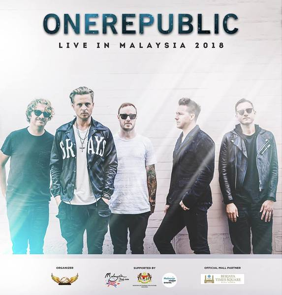 ONEREPUBLIC LIVE IN MALAYSIA 2018 CONCERT TICKET GIVEAWAY